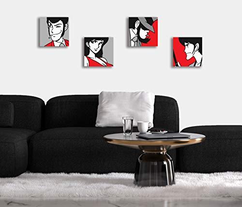 Set di 4 Quadri Moderni con i Personaggi di Lupin III Sfondo Rosso, Stampa  su Tela Canvas, Quadro 20x20 cm, Ideale per Arredo Casa, Camera da Letto,  ...