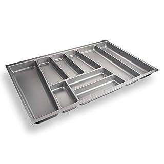 SO-TECH® Besteckeinsatz ORGA-Box II für Nobilia 80er Schublade (462 x 705 mm) Silbergrau