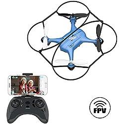 ATOYX AT-96 Drone Cámara HD, RC Mini Drone, 3D Flips, Modo sin Cabeza con APP WiFi FPV 2.4Ghz, Altitud Hold, Una Tecla de Despegue y Aterrizaje de Gravedad, Regalos de Navidad o Año Nuevo, Azul