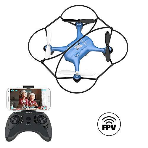 ATOYX AT-96 FPV Mini Drone con Telecamera, 2.4GHz 4CH a 6 Assi Gyro RC Quadcopter Drone con HD Camera modalità di Senza Testa, 3D Flips Funzione Adatto per Principianti Bambini (Blu)