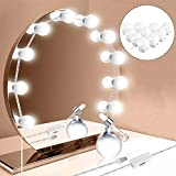 Mallallah 10 LED Maquillage Miroir Ampoules Lumineux USB Prise Hollywood Vanity Mirror Light Lampe avec Variateur pour Théâtre Tournage à L'extérieur Maquillage Privé Miroir Pro Salon de Coiffure