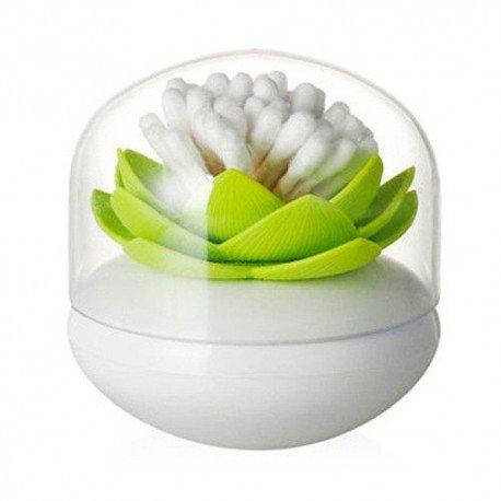 Boîte ou distributeur de coton tiges lotus vert, L'accessoire déco salle de bain