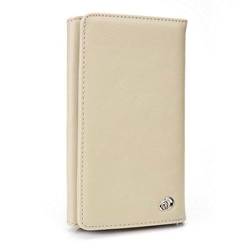 Kroo Portefeuille unisexe avec protection d'écran Pioneer P5L/P4S ajustement universel différentes couleurs disponibles avec affichage écran Marron - marron Beige - beige