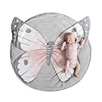 Bath Rugs lansiZD, 90cm Cotton Panda Deer Round Baby Infant Play Crawling Mat Carpet Rug Room Decor - Butterfly*