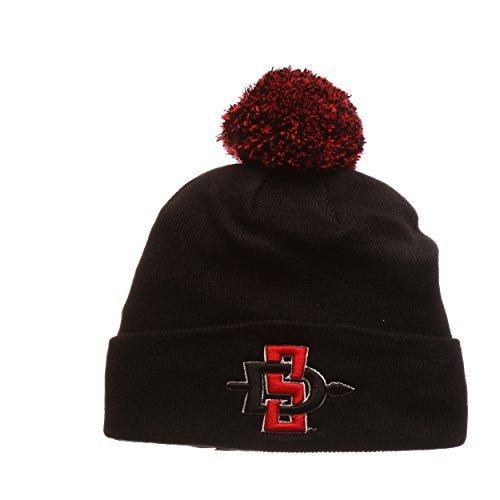san-diego-state-aztecs-black-cuff-beanie-hat-with-pom-pom-ncaa-sdsu-cuffed-winter-knit-toque-cap-by-