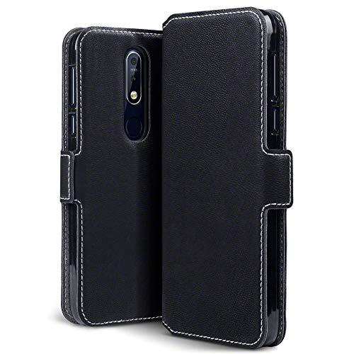 TERRAPIN, Kompatibel mit Nokia 7.1 Hülle, Leder Tasche Case Hülle im Bookstyle mit Standfunktion Kartenfächer - Schwarz EINWEG