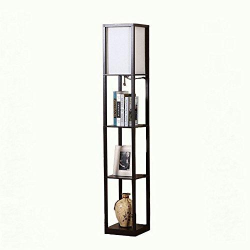Moderne LED dekorative hölzerne Loft Stehleuchte Schwarz Weiß Stehlampe mit Tischablagen Regal für Zuhause Wohnzimmer Schlafzimmer (schwarz)
