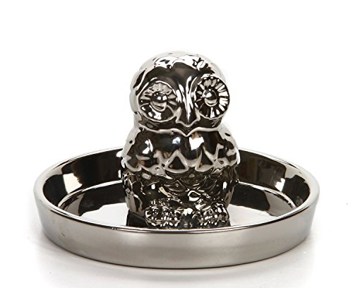Hosley de cromo para búho de joyería bandeja, ideal regalo para boda,...