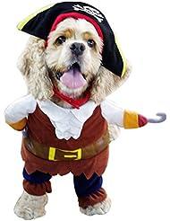 iEFiEL Disfraces de Pirata para Mascota Cachorro Perrito Ropa para Perro con una Gorra y una Capa