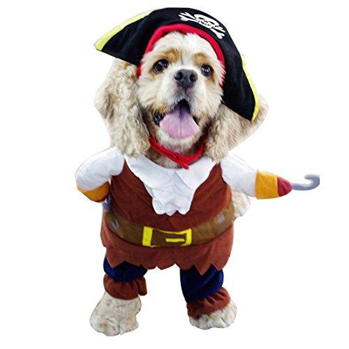 iEFiEL Disfraces de Pirata para Mascota Cachorro Perrito Ropa para Perro con una Gorra y una Capa Marrón M