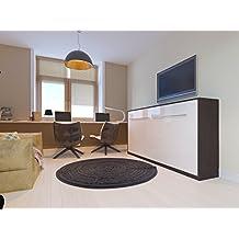 Cama plegable de 90cm horizontal color wengué/blancofrente brillantecama plegable & cama de pared con SMART Punkt colchón de espuma fría 90x200 cm SMARTBett