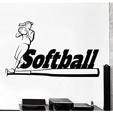 GGWW Wall Sticker Sport Softball Girl Woman Fitness Athlete Vinyl Decal (Z2998)