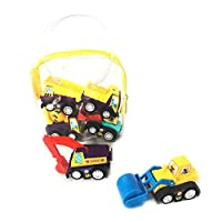 Runfon Pull Back Vehicle Kids Mini Engineering Cars Toys Set Includes Bulldozer Tractor Truck Cement Mixer for Toddler Boys Pack of 6 (No Battery Needed)