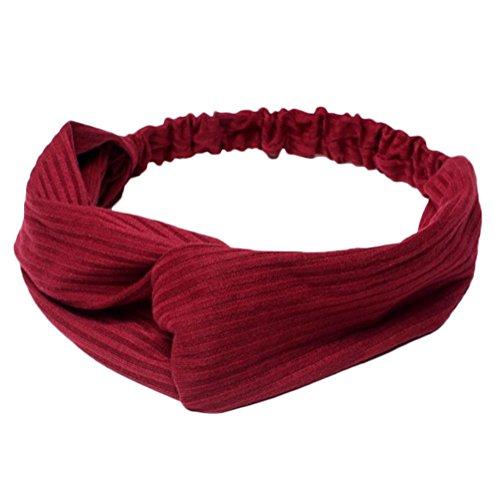 Laat banda, multicolor punto diadema Cabello Nudo Turbante elástico Yoga deportiva para mujer niña, rojo oscuro, talla única