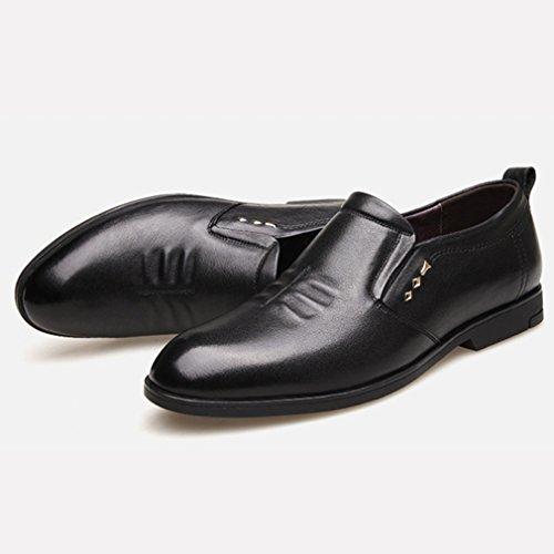 Hommes Chaussures en Cuir Souple Cire Chelsea Bout Pointu Talon Bloc Semelle Antidérapant Loisir Derby Business Souliers Noir