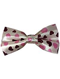Mens Ladies Satin Pink Love Hearts Luxury adjustable Bow Tie