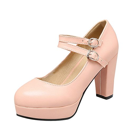 Mee Shoes Damen Schnalle Plateau runde chunky heels Pumps Pink