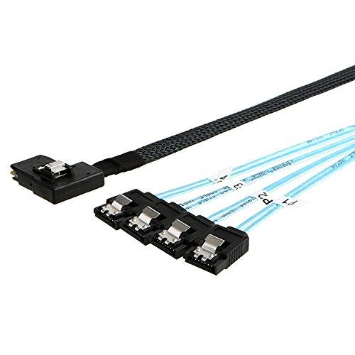 CableCreation Adapterkabel (rechtwinkliger 36-poliger Mini-SAS-Stecker (SFF-8087) auf 4 7-polige SATA-Buchsen), Mini-SAS-Host/-Controller auf 4 SATA-Target/-Backplane, 1 m lang
