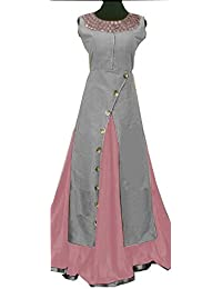 Aryan Fashion Women Banglory Silk Anarkali Semi-Stitched Salwar Suit (AFS-ER-Ewe10757_Gray_Free Size)