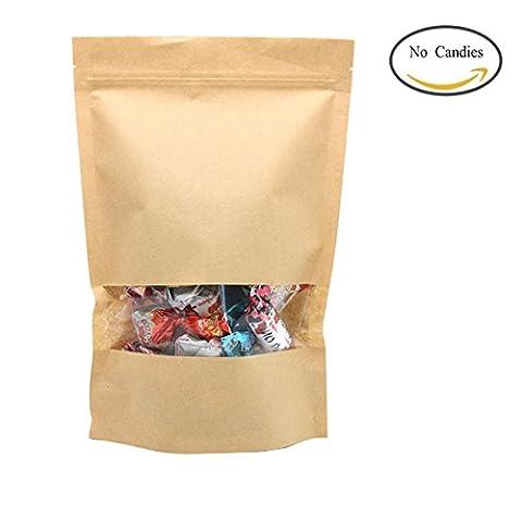 Zedtom Lot de 50pcs Sac d'Emballage en Papier Kraft avec Fenêtre transparente Pour Noix Fruits Secs Aliment Cadeau Nourriture