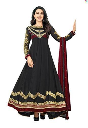 Mrig Women Faux Gorgette Semi-Stitched Anarkali Suit (El30014-Black)