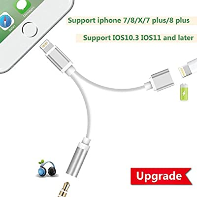 Achat Lightning Adaptateur Jack pour iPhone7/7Plus/8/8Plus/X, 2 en 1 Adaptateur Lightning Casque 3.5mm Aux Audio + Chargeur, Beseloa Adaptateur Splitter Écouteurs et Convertisseur pour iOS 10.3/11 ou Tard de beseloa