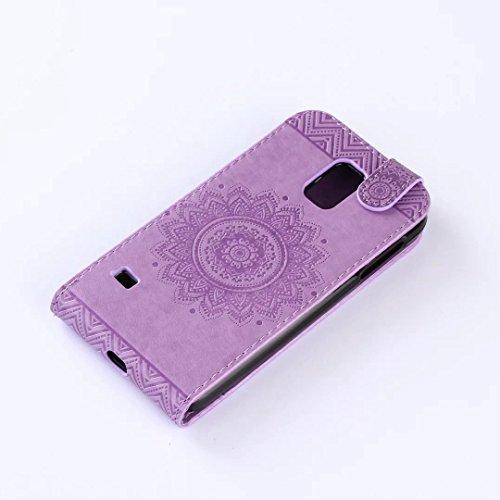 Samsung Galaxy S5 Case, vertikal Flip-Standplatz Fall geprägt Blumen Muster Leder Fall Deckung mit Wallet-Card Slots für Samsung Galaxy S5 ( Color : Light Purple , Size : Samsung Galaxy S5 ) Purple