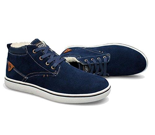 WZG chaussures de sport Nouveaux hommes d'hiver coréens hommes hommes chaussures en coton rembourré chaussures chaudes grands chantiers nouvelle vague cuir suédé haut-dessus chaussures Blue