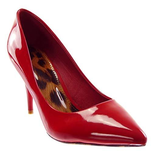 Angkorly - Damen Schuhe Pumpe - Stiletto - Dekollete - Sexy - Patent - Leopard Stiletto high Heel 9 cm - Rot AB706 T 39 Leopard Patent High Heel