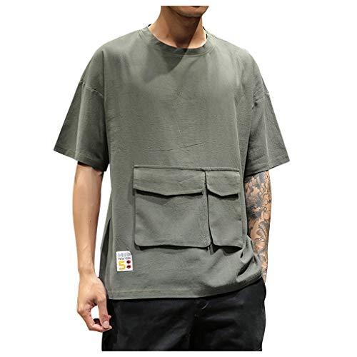 TWISFER Herren Sommer T-Shirt Einfarbig Rundhals-Ausschnitt Loose Fit Baumwolle Shirt Mode Zwei Taschen Design Männer T-Shirt