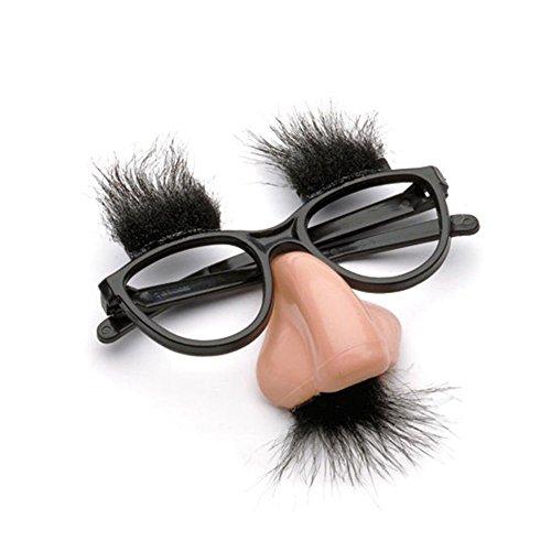 Aquiver travestimento baffi occhiali con naso, costumi in maschera per feste di natale / scherzo / matrimonio