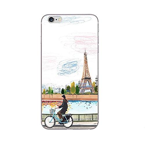 iPhone 5 5S SE Handyhülle Schutzhülle Hülle Silikon Cover Case Ultra Dünn Slim 4.0 TPU Paris Cartoon
