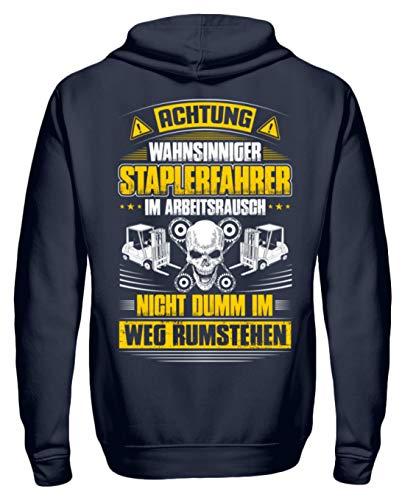 Shirtee EIN Staplerfahrer im Arbeitsrausch - Gabelstaplerfahrer - Gabelstapler - Geschenk - Unisex Kapuzenpullover Hoodie -L-Oxford Navy