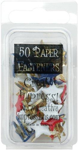 Creative Impressions Métal Peint Papier Attaches 50/Pkg-Rouge/Blanc/Bleu - étoiles