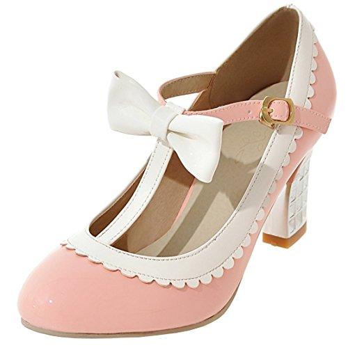 YE Damen T Spangen Rockabilly Pumps Lack Blockabsatz High Heels mit Riemchen und Schleife Elegant Schuhe