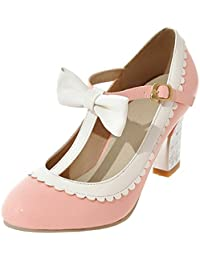 YE Damen T Spangen Rockabilly Pumps Lack Blockabsatz High Heels mit Riemchen  und Schleife Elegant Schuhe a1e0ab1b1e