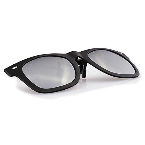 Grau Rechteck Objektiv Klapp Sport Clip auf polarisierten Sonnenbrillen für eine Frau einen Mann eTLjZVk