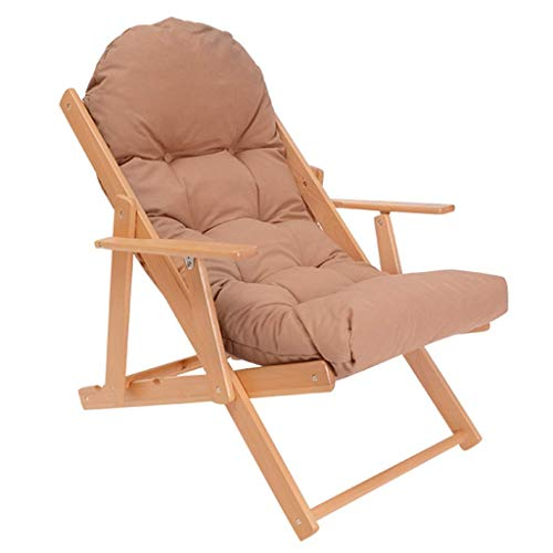 High-dining Patio-möbel (SEEKSUNG Recliner Chair,SjYsXm-recliners Holz Klappstuhl Gartensofa Lounger Chair mit dem High-Rebound-Schwamm Kissen Sonnenliege Stuhl Patio Stuhl Liegestuhl (Farbe: grau) kakifarbig)