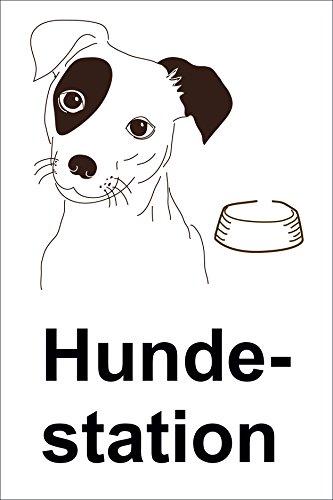 Schild Hundestation - 15x20cm, 30x20cm und 45x30cm - Bohrlöcher Aufkleber Hartschaum Aluverbund -S00179