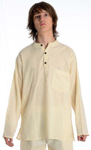Fischerhemd natur beigeBaumwoll-Hemden Kurta Hemd (Kostüme Traditionelle Verschiedene Von Indien)