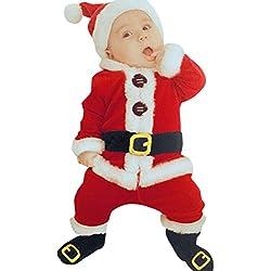 Goodsatar 4pcs Bebé infantil Santa Navidad Tops + pantalones + gorro + calcetines Traje conjunto de disfraces (12M, rojo)
