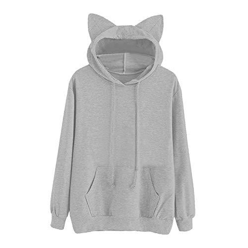 (Dasongff Damen Pullover Katzen Kapuzenpullover Damen Lang Schwarz Mode Kapuzenpulli Hoodie Süße Kleidung)