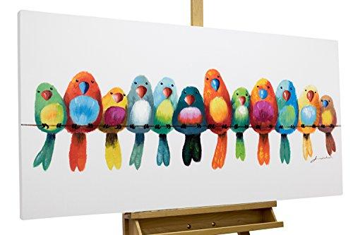 Dipinto in acrilico KunstLoft® 'Amici per sempre' in 120x60cm | Tele originali manufatte XXL | Uccelli casa colorati pappagalli | Quadro da parete dipinto in acrilico arte moderna in un pezzo