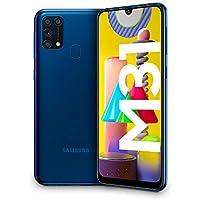 "Samsung Galaxy M31, Smartphone, Display 6.4"" Super AMOLED, 4 Fotocamere Posteriori, 64 GB Espandibili, RAM 6GB, Batteria 6000 mAh, 4G, Dual Sim, Android 10, [Versione Italiana], Blue, Esclusiva Amazon"