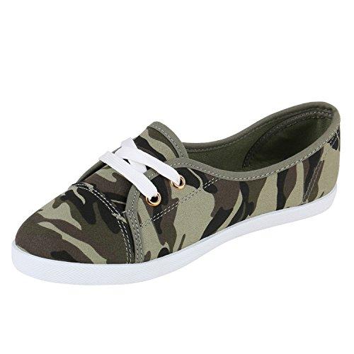 Klassische Damen Ballerinas | Sportliche Stoffschuhe | Slipper Flats | Sneakers Slip-ons | viele Farben Camouflage Weiss