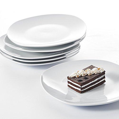 """Malacasa, Serie Elisa, 6 teilig Set 7,5"""" Porzellan Dessertteller 19x19x2cm Kuchenteller Cremeweiß Speiseteller Tafelservice für 6 Personen"""