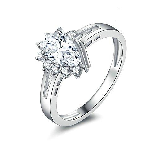 SonMo Ringe 925 Silber Solitär Weiß Diamant Ringe Tropfen Zirkonia Trauringe Verlobungsring Hochzeit Ring für Damen Größe 60 (19.1)