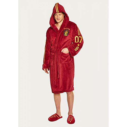 Quidditch Harry Potter Mens Burgandy Fleece Robe with ()