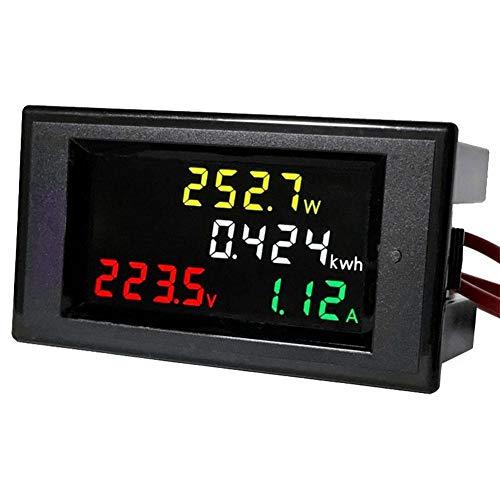VBESTLIFE AC 80-300 V Digitales Multimeter, 0 ~ Voltmeter Spannungsmessgerät, 100 A LCD Farben Voltmeter Digital Amperemeter Volt Amp Leistung Kwh Zähler (Digital Ac Voltmeter)