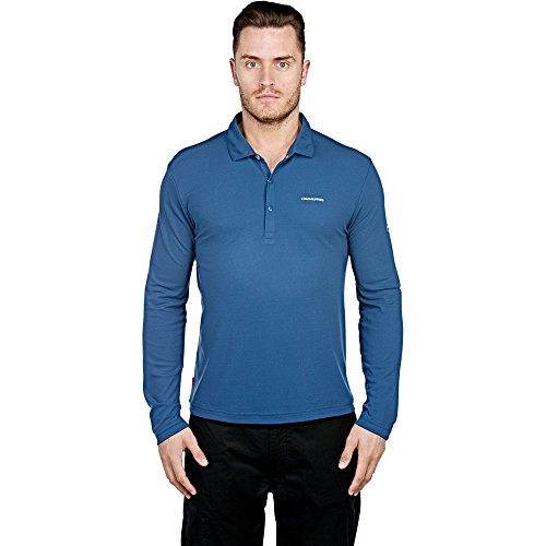 Craghoppers Mens Nosilife Nemla Long Sleeve Polo Faded Indigo M